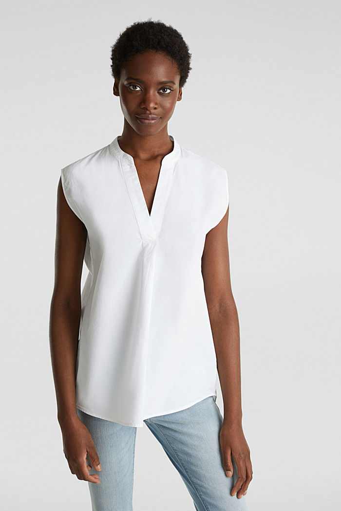 Blouse top made of 100% organic cotton, WHITE, detail image number 0