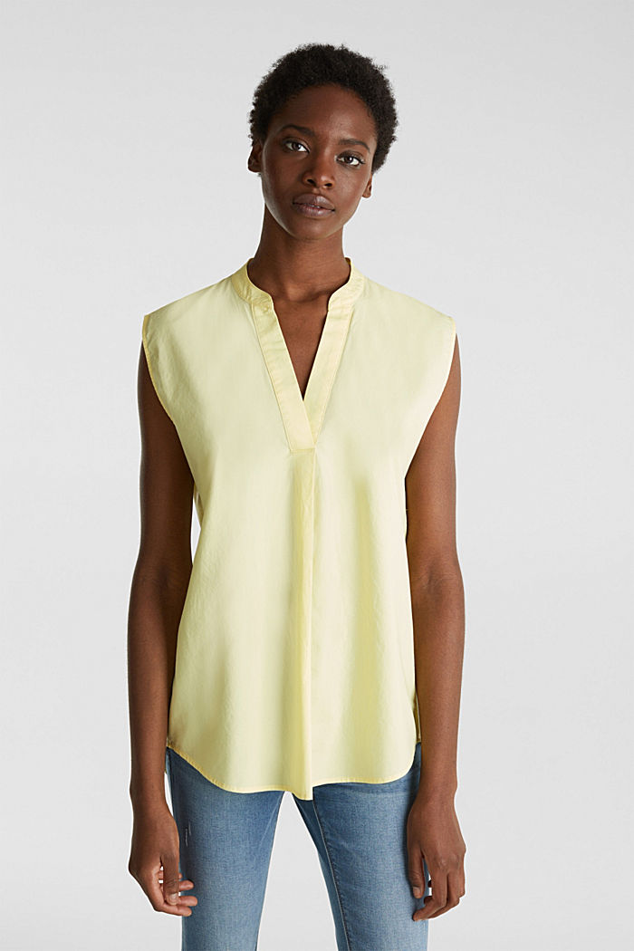 Blouse top made of 100% organic cotton, LIME YELLOW, detail image number 0