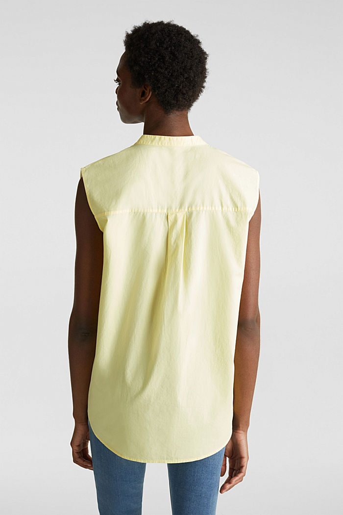 Blouse top made of 100% organic cotton, LIME YELLOW, detail image number 3