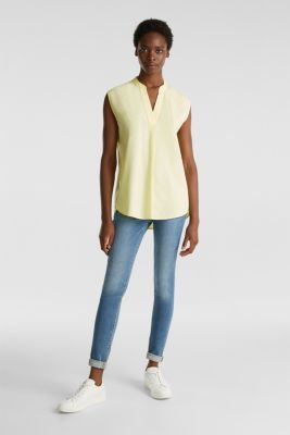 Blouse top made of 100% organic cotton, LIME YELLOW, detail