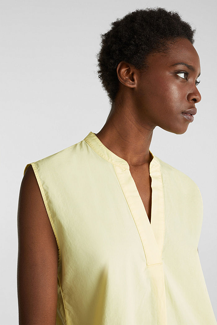 Blouse top made of 100% organic cotton, LIME YELLOW, detail image number 7