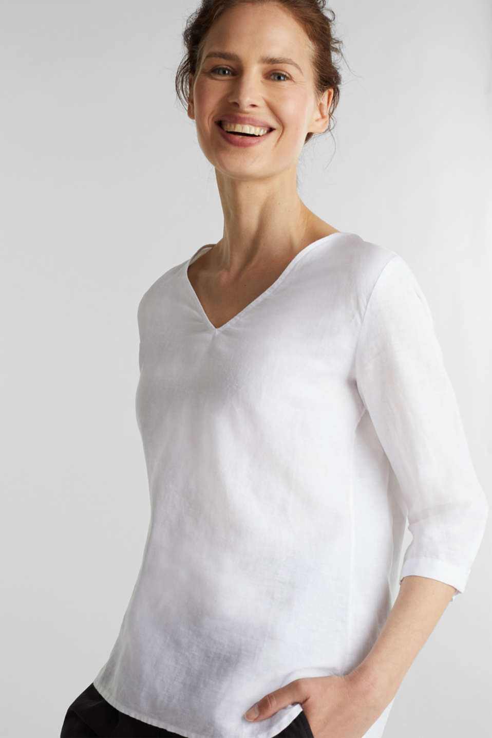 Esprit - Blended linen blouse with 3/4-length sleeves