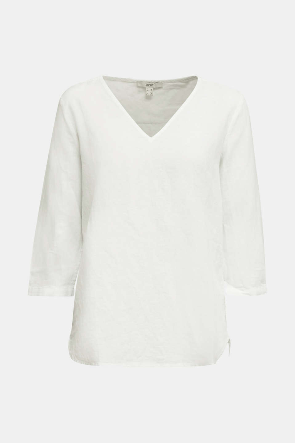 Blended linen blouse with 3/4-length sleeves, WHITE, detail image number 6