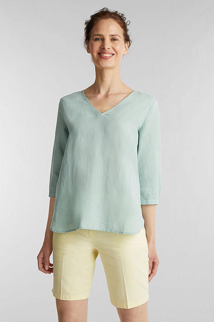 Blended linen blouse with 3/4-length sleeves, LIGHT AQUA GREEN, detail image number 0