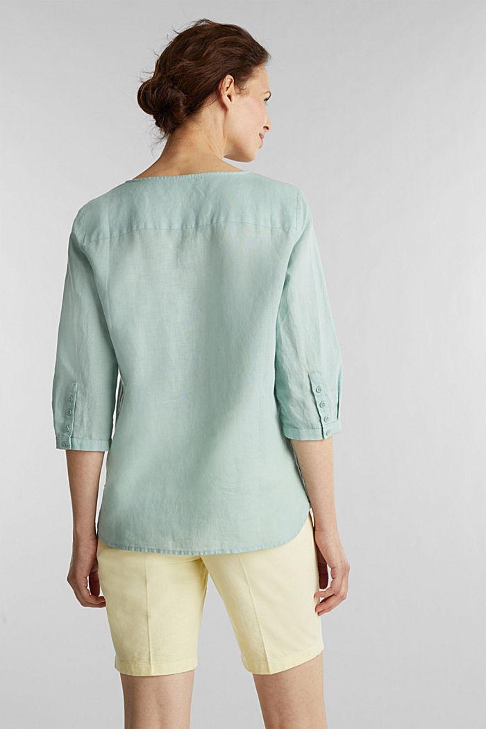 Blended linen blouse with 3/4-length sleeves, LIGHT AQUA GREEN, detail image number 3