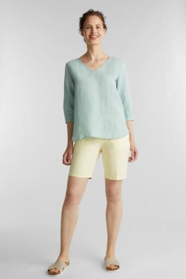 Blended linen blouse with 3/4-length sleeves, LIGHT AQUA GREEN, detail