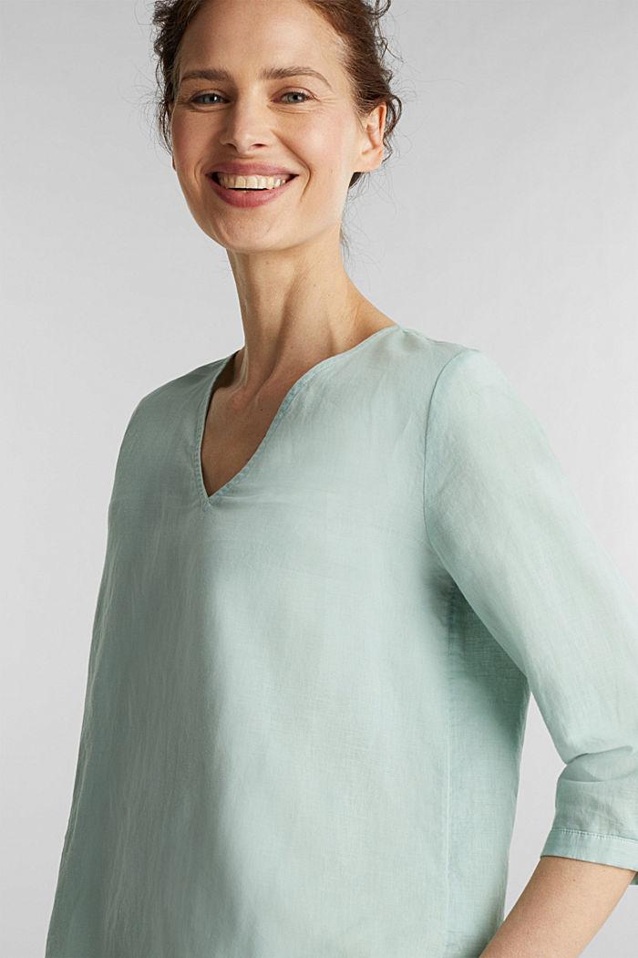 Blended linen blouse with 3/4-length sleeves, LIGHT AQUA GREEN, detail image number 2