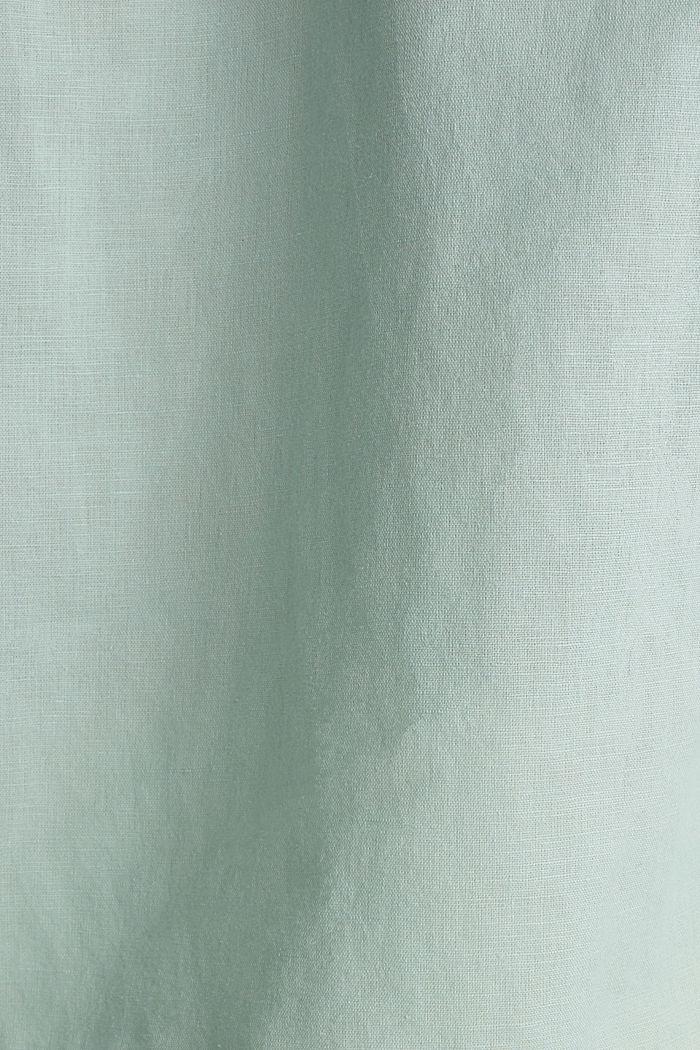 Blended linen blouse with 3/4-length sleeves, LIGHT AQUA GREEN, detail image number 4