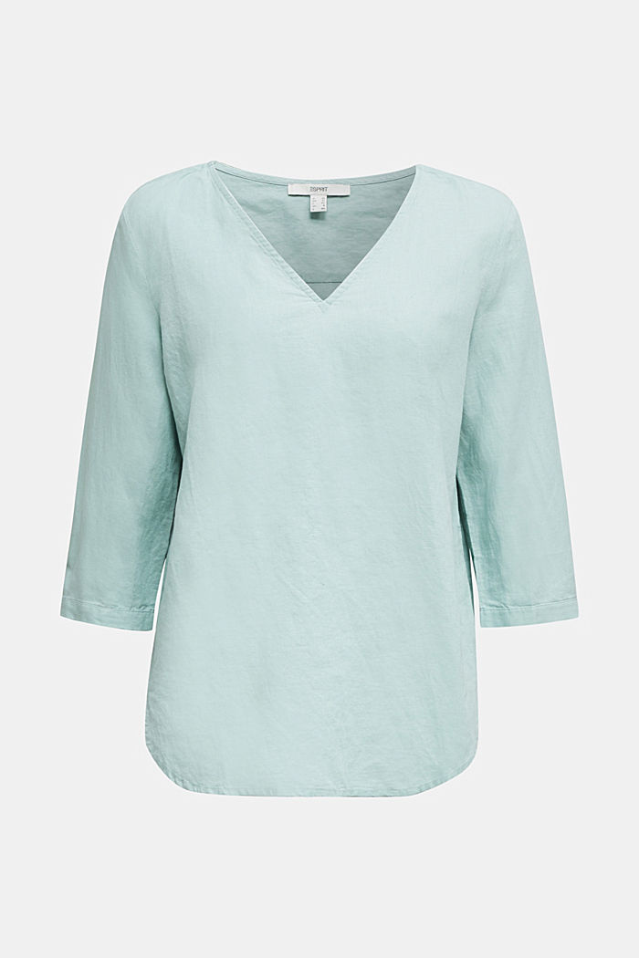 Blended linen blouse with 3/4-length sleeves, LIGHT AQUA GREEN, detail image number 6