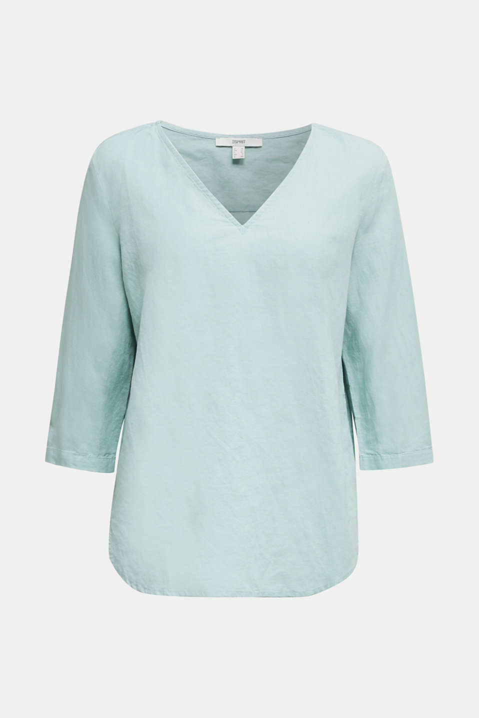 Blended linen blouse with 3/4-length sleeves, LIGHT AQUA GREEN, detail image number 5