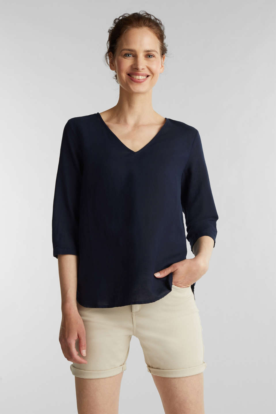 Blended linen blouse with 3/4-length sleeves, NAVY, detail image number 0