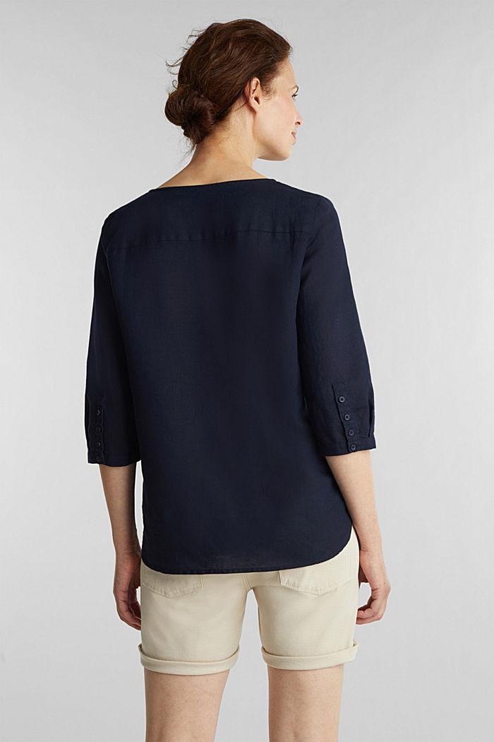 En mezcla de lino: blusa con mangas de tres cuartos, NAVY, detail image number 3