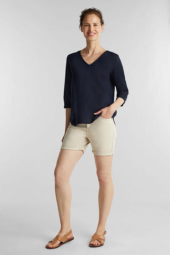 En mezcla de lino: blusa con mangas de tres cuartos, NAVY, detail image number 1
