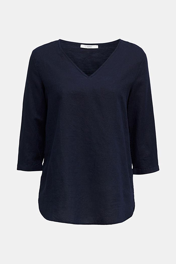 En mezcla de lino: blusa con mangas de tres cuartos, NAVY, detail image number 5