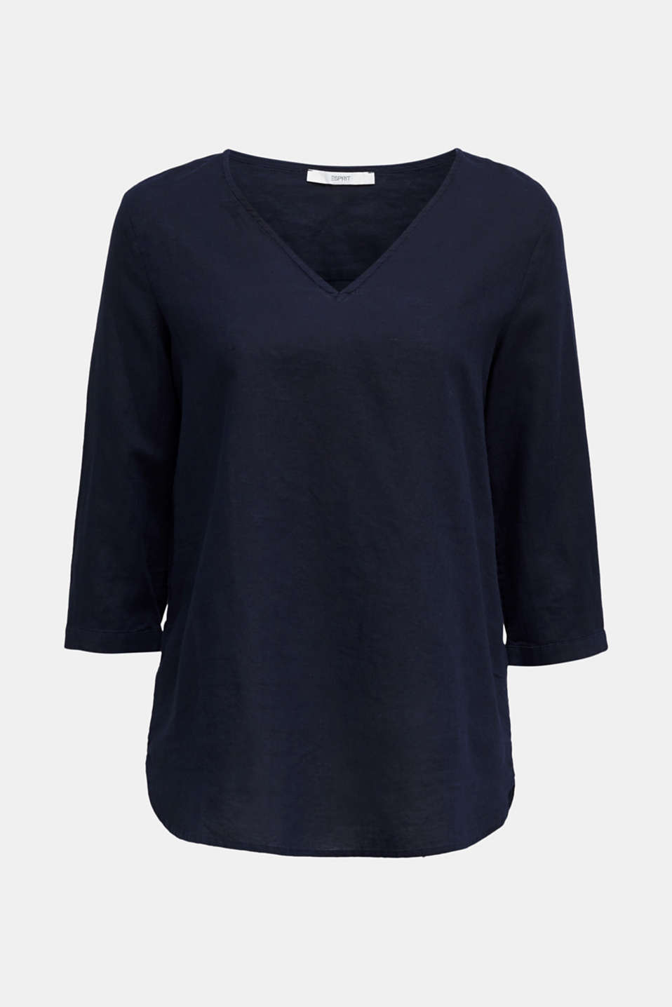 Blended linen blouse with 3/4-length sleeves, NAVY, detail image number 5