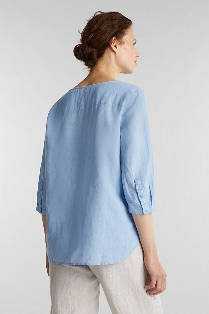 Blended linen blouse with 3/4-length sleeves, LIGHT BLUE, detail image number 3