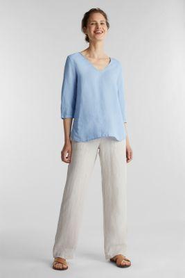 Blended linen blouse with 3/4-length sleeves, LIGHT BLUE, detail