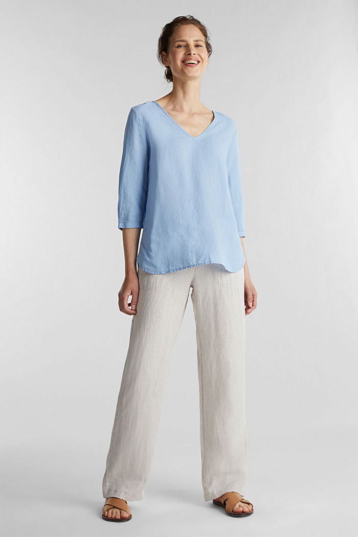 Blended linen blouse with 3/4-length sleeves, LIGHT BLUE, detail image number 1