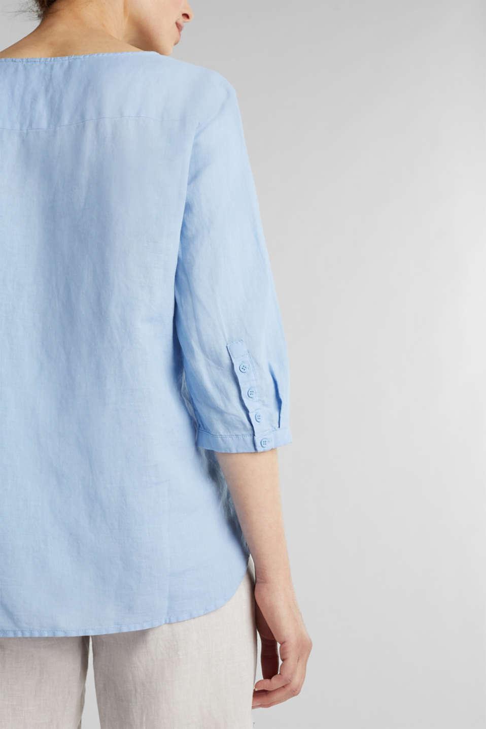 Blended linen blouse with 3/4-length sleeves, LIGHT BLUE, detail image number 2