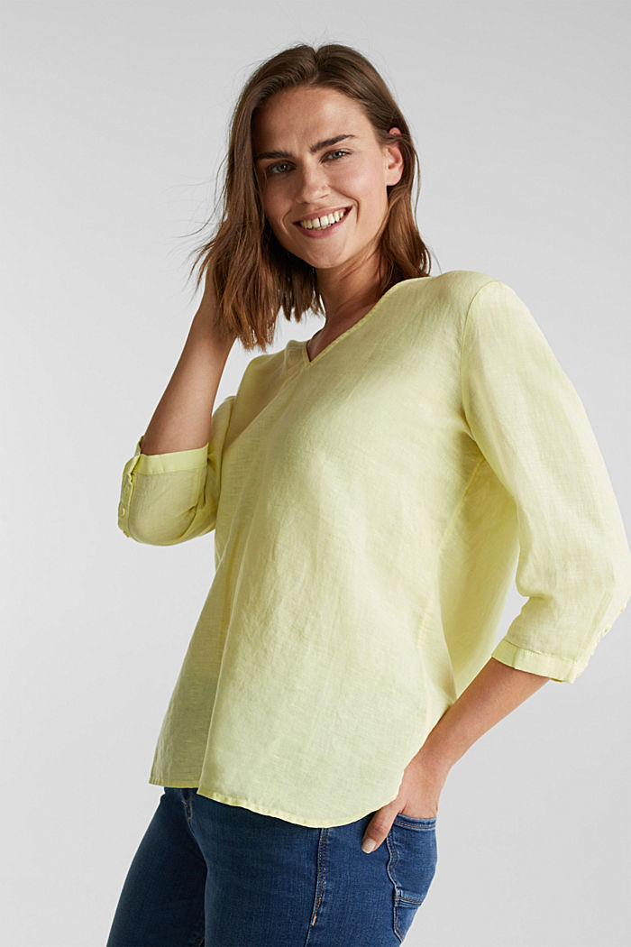 Aus Leinen-Mix: Bluse mit 3/4-Ärmeln, LIME YELLOW, detail image number 0