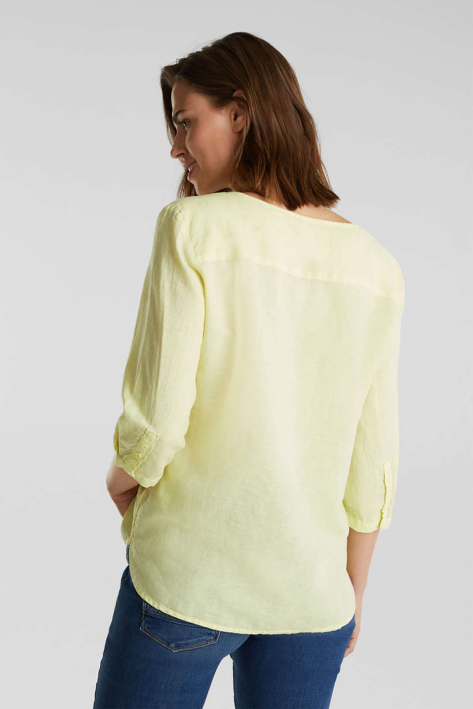 Blended linen blouse with 3/4-length sleeves, LIME YELLOW, detail image number 3