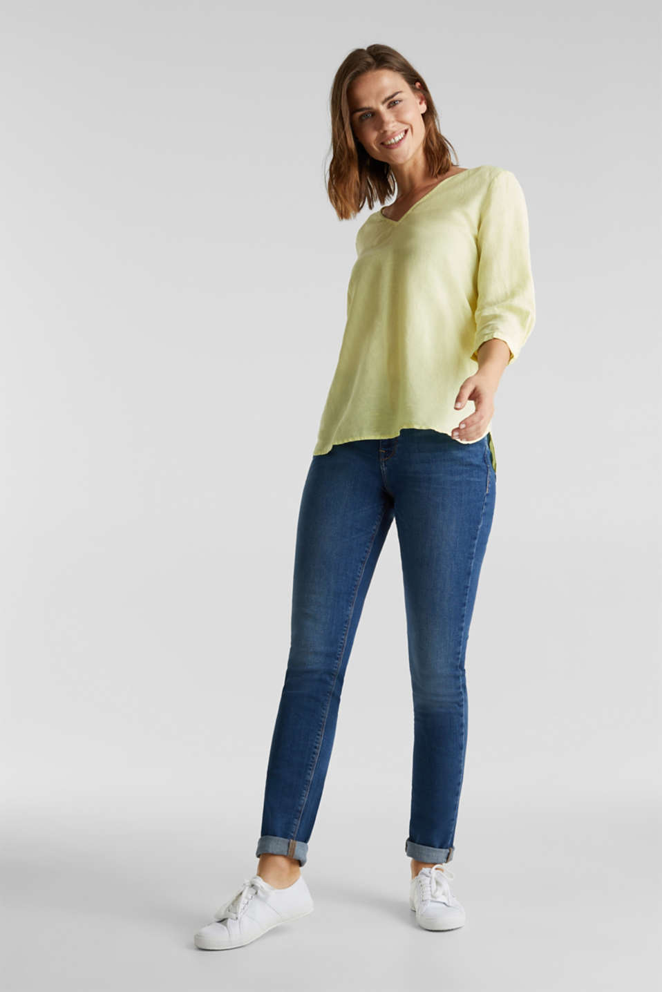 Blended linen blouse with 3/4-length sleeves, LIME YELLOW, detail image number 1