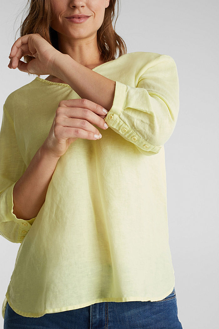 Aus Leinen-Mix: Bluse mit 3/4-Ärmeln, LIME YELLOW, detail image number 2