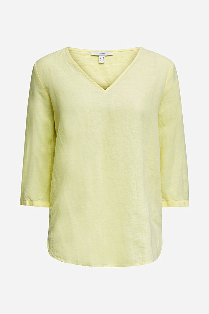 Aus Leinen-Mix: Bluse mit 3/4-Ärmeln, LIME YELLOW, detail image number 5