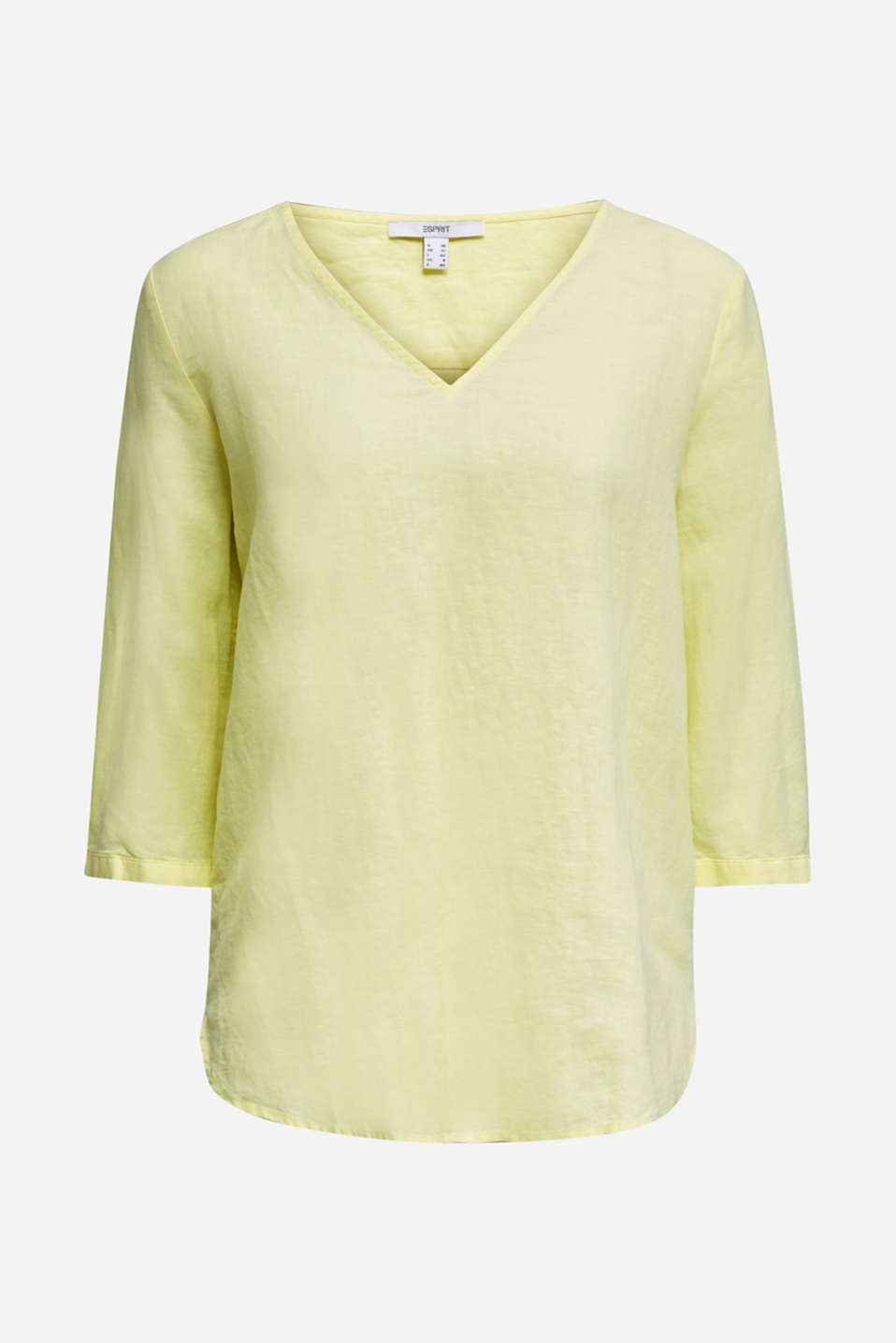 Blended linen blouse with 3/4-length sleeves, LIME YELLOW, detail image number 5