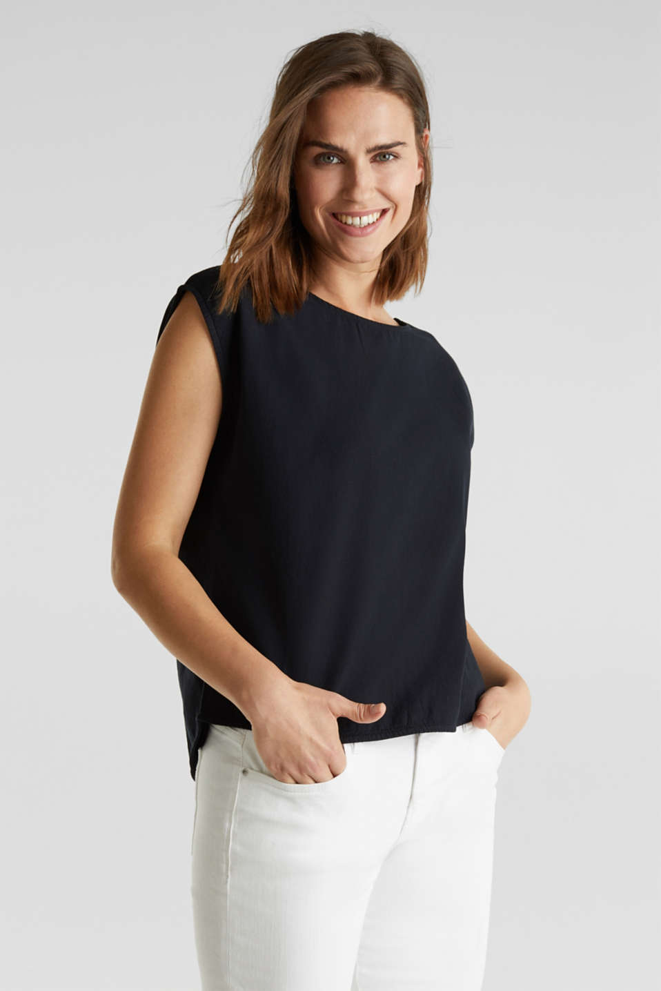Blouse top with button placket on the back, BLACK, detail image number 0