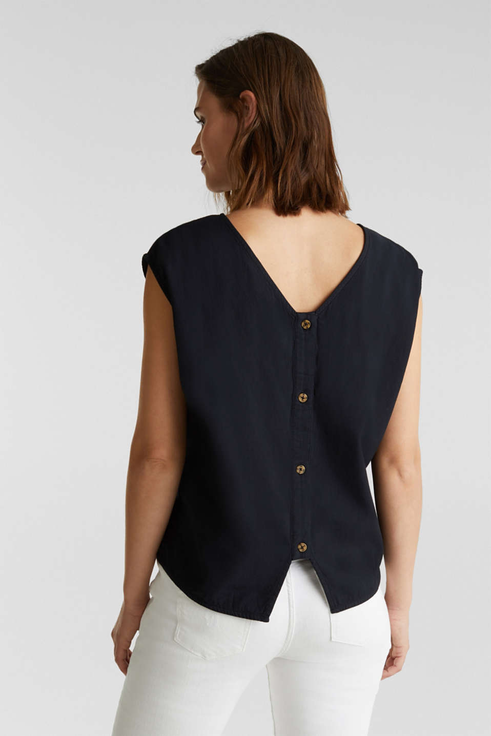 Blouse top with button placket on the back, BLACK, detail image number 3