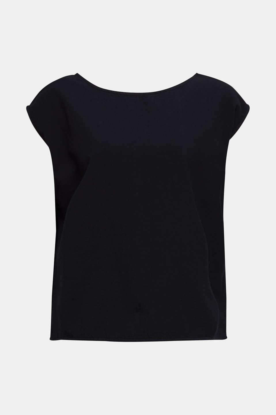 Blouse top with button placket on the back, BLACK, detail image number 7