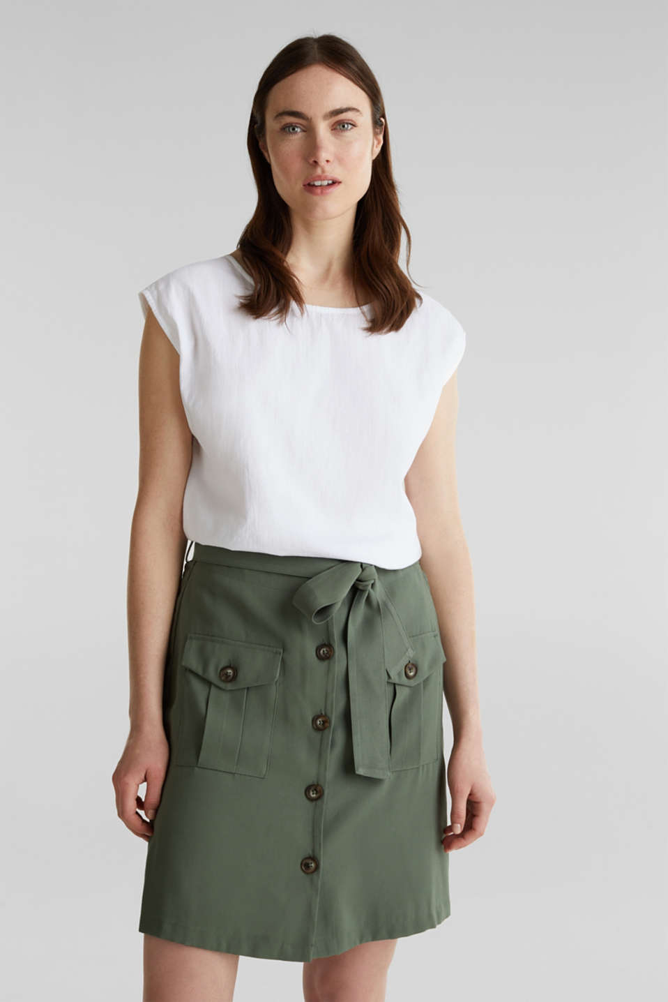 Blouse top with button placket on the back, WHITE, detail image number 0