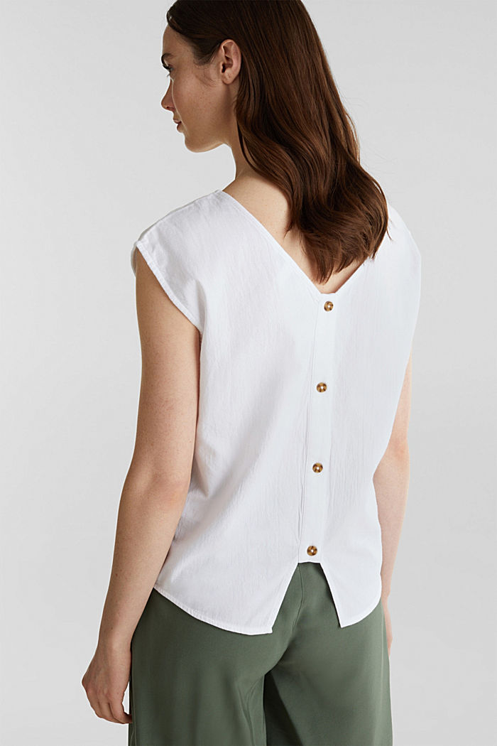 Blouse top with button placket on the back, WHITE, detail image number 3