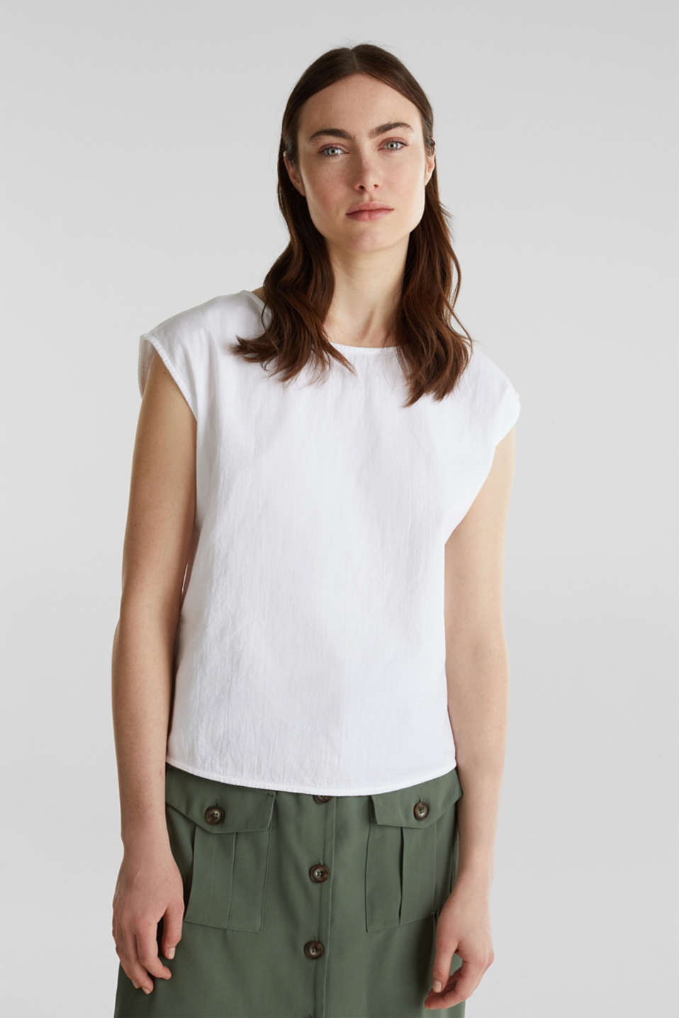 Blouse top with button placket on the back, WHITE, detail image number 5