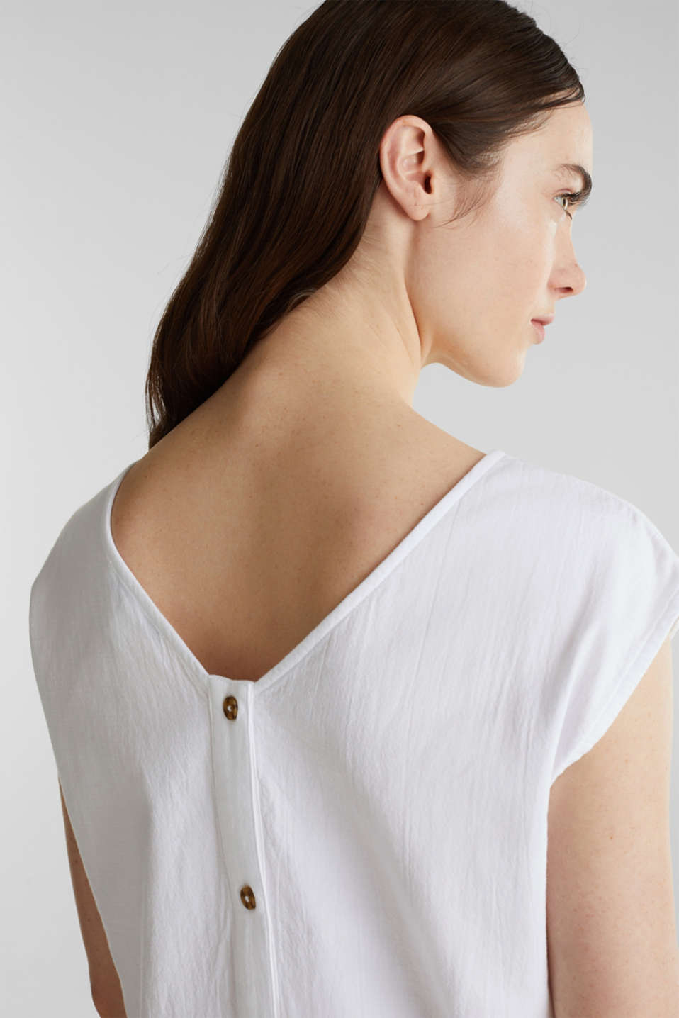 Blouse top with button placket on the back, WHITE, detail image number 2