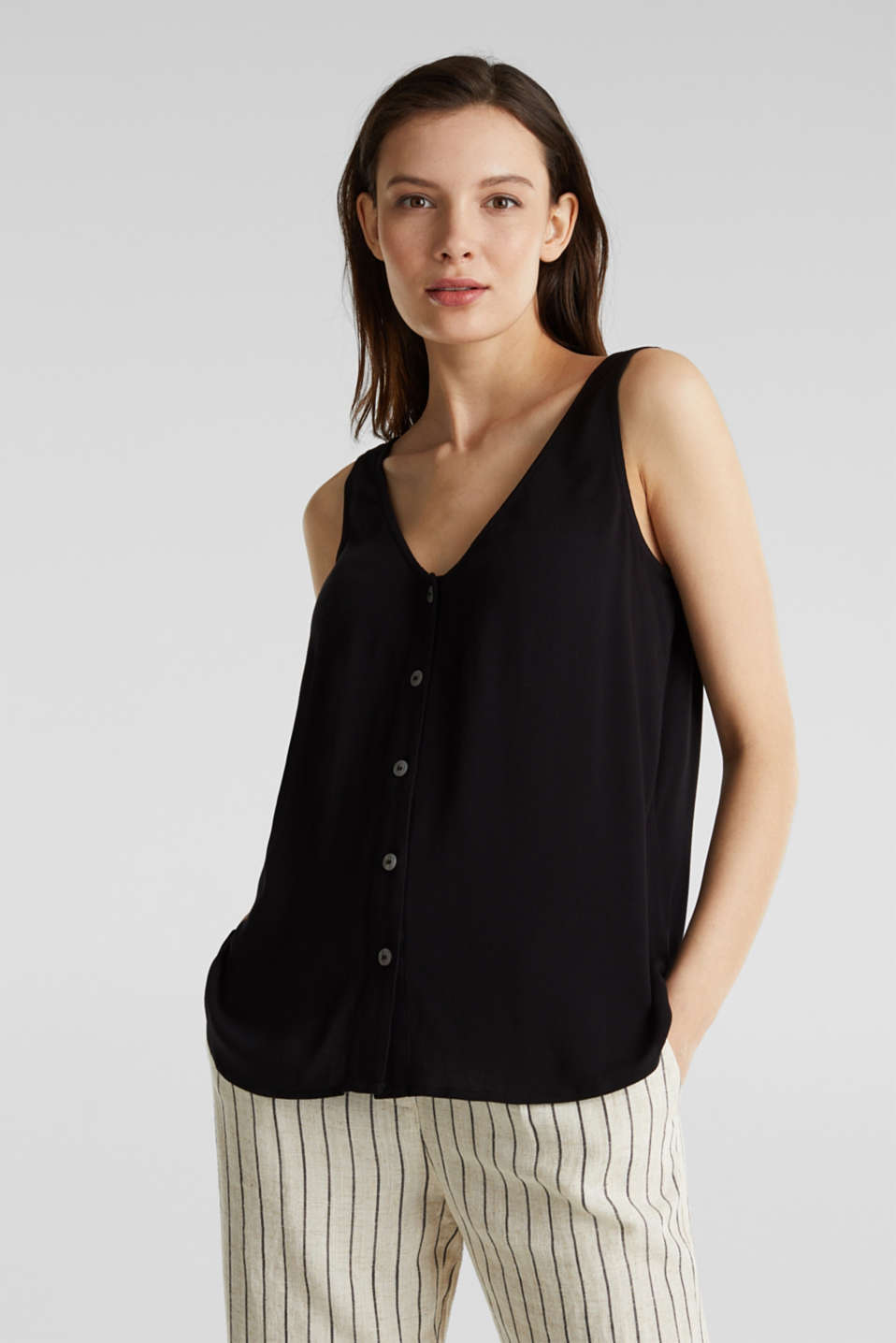 Crêpe blouse top with a button placket, BLACK, detail image number 0