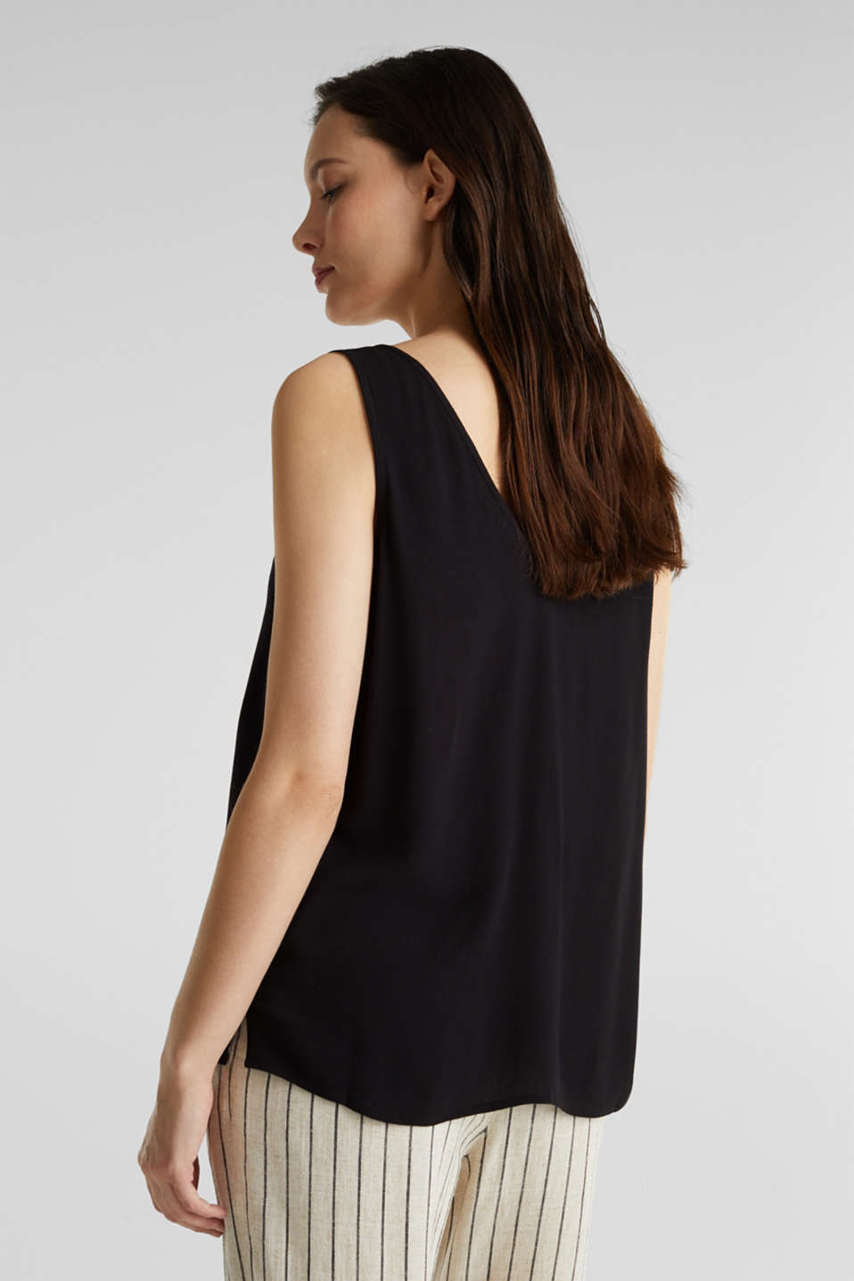 Crêpe blouse top with a button placket, BLACK, detail image number 2