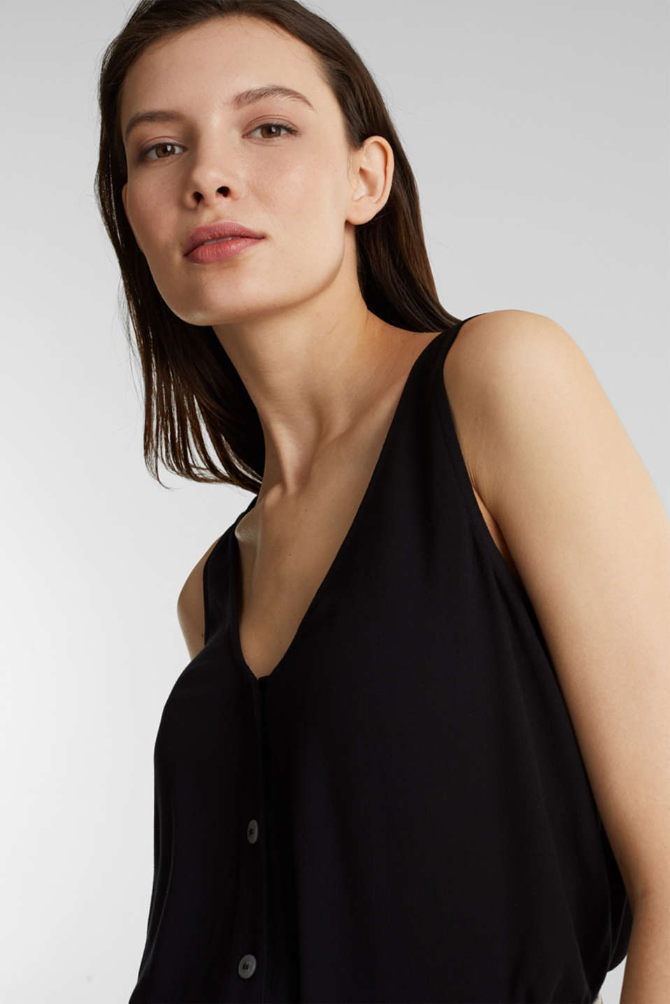 Crêpe blouse top with a button placket, BLACK, detail image number 5