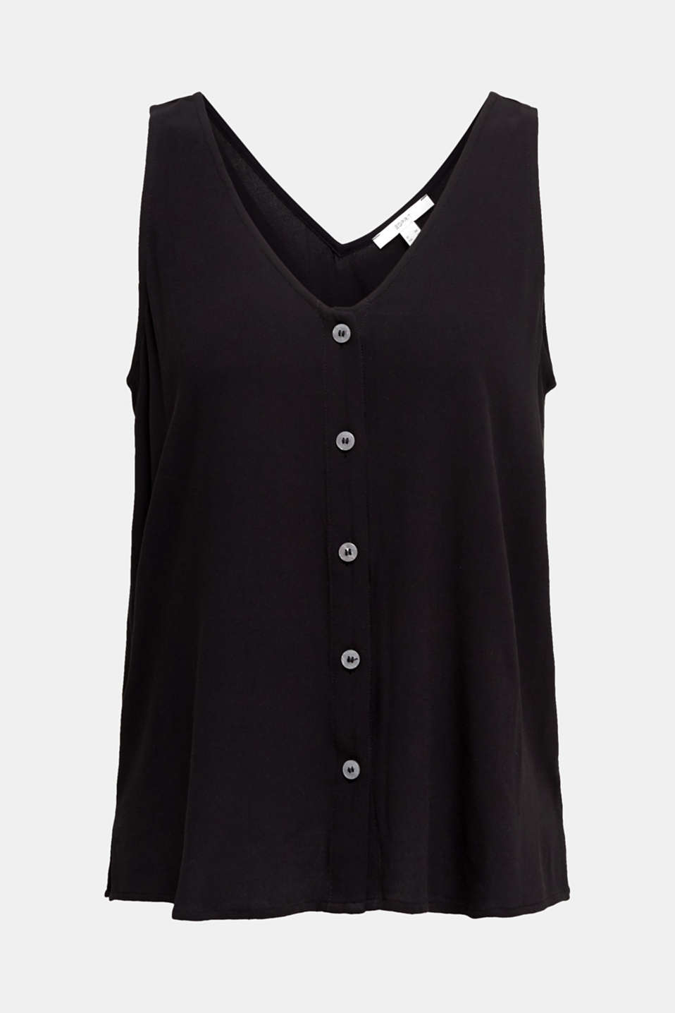 Crêpe blouse top with a button placket, BLACK, detail image number 6