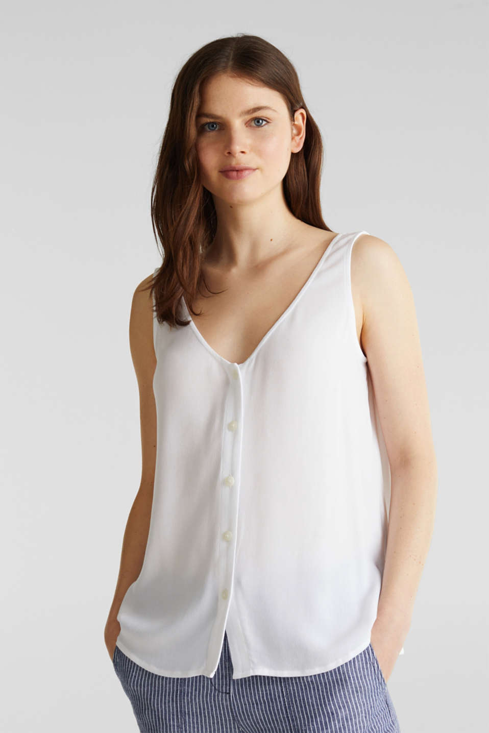 Crêpe blouse top with a button placket, WHITE, detail image number 0