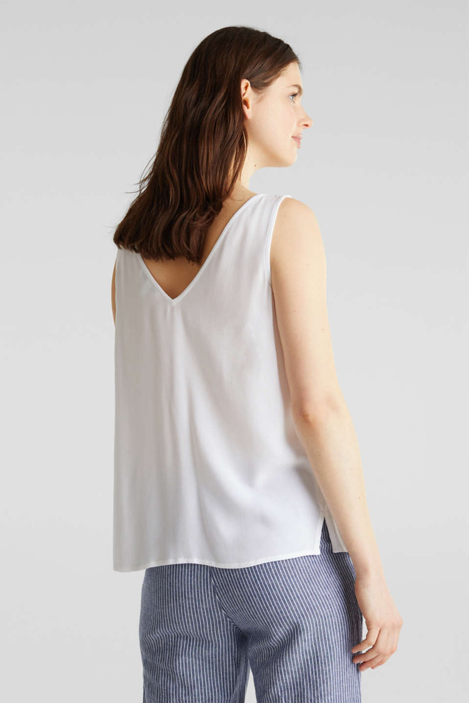 Crêpe blouse top with a button placket, WHITE, detail image number 2