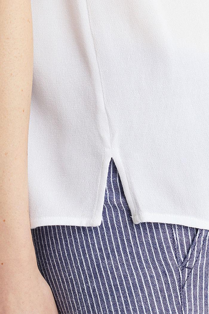 Blusentop aus Crêpe mit Knopfleiste, WHITE, detail image number 4