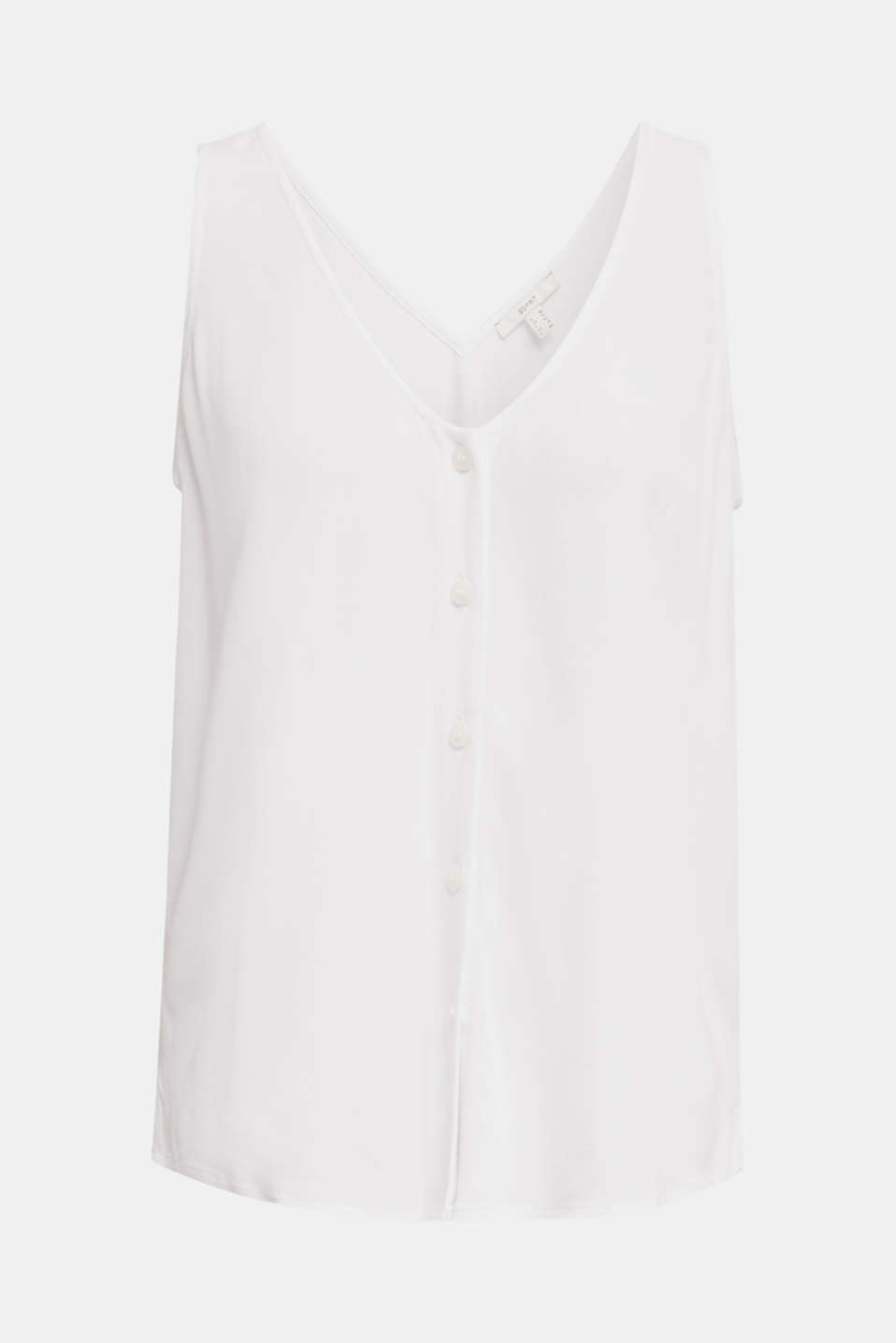 Crêpe blouse top with a button placket, WHITE, detail image number 6