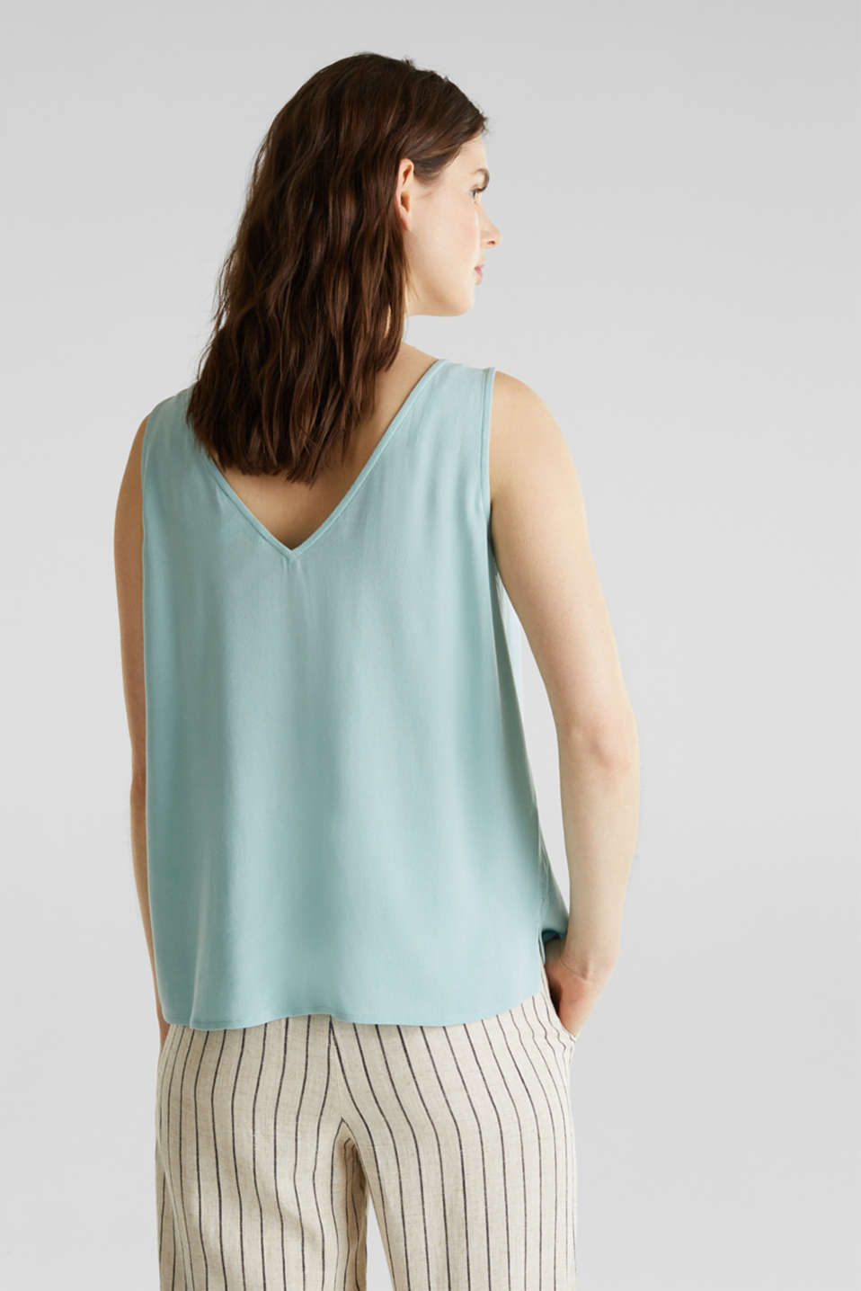 Crêpe blouse top with a button placket, LIGHT AQUA GREEN, detail image number 3