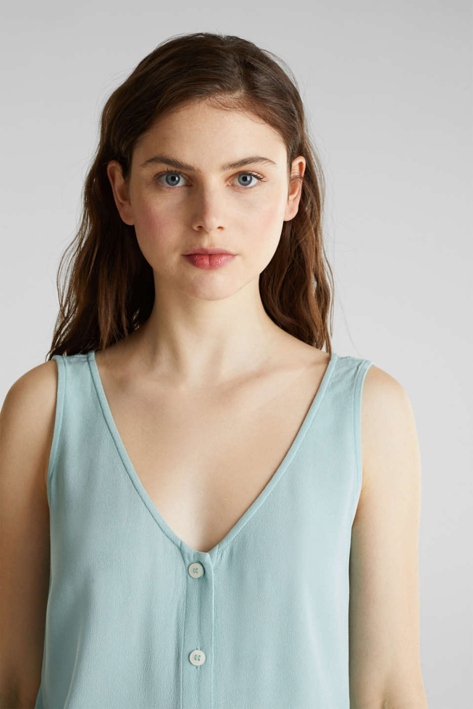 Crêpe blouse top with a button placket, LIGHT AQUA GREEN, detail image number 2