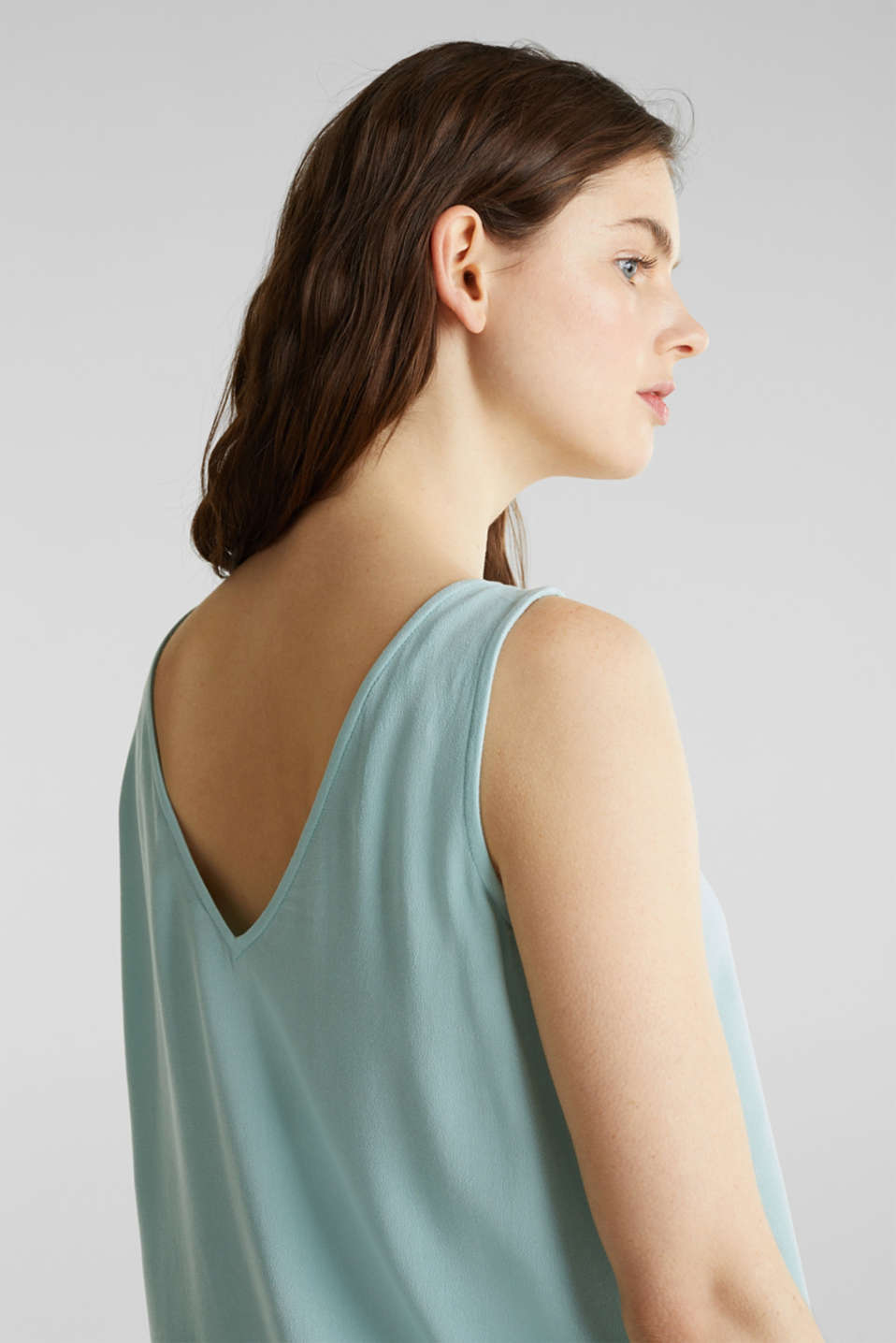 Crêpe blouse top with a button placket, LIGHT AQUA GREEN, detail image number 6