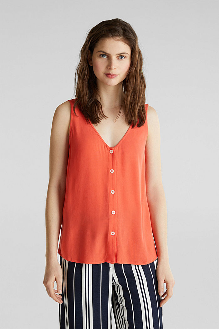 Crêpe blouse top with a button placket, CORAL, detail image number 0