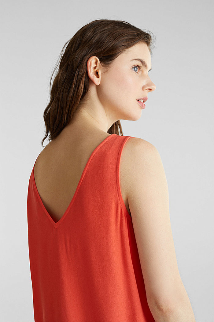 Crêpe blouse top with a button placket, CORAL, detail image number 5