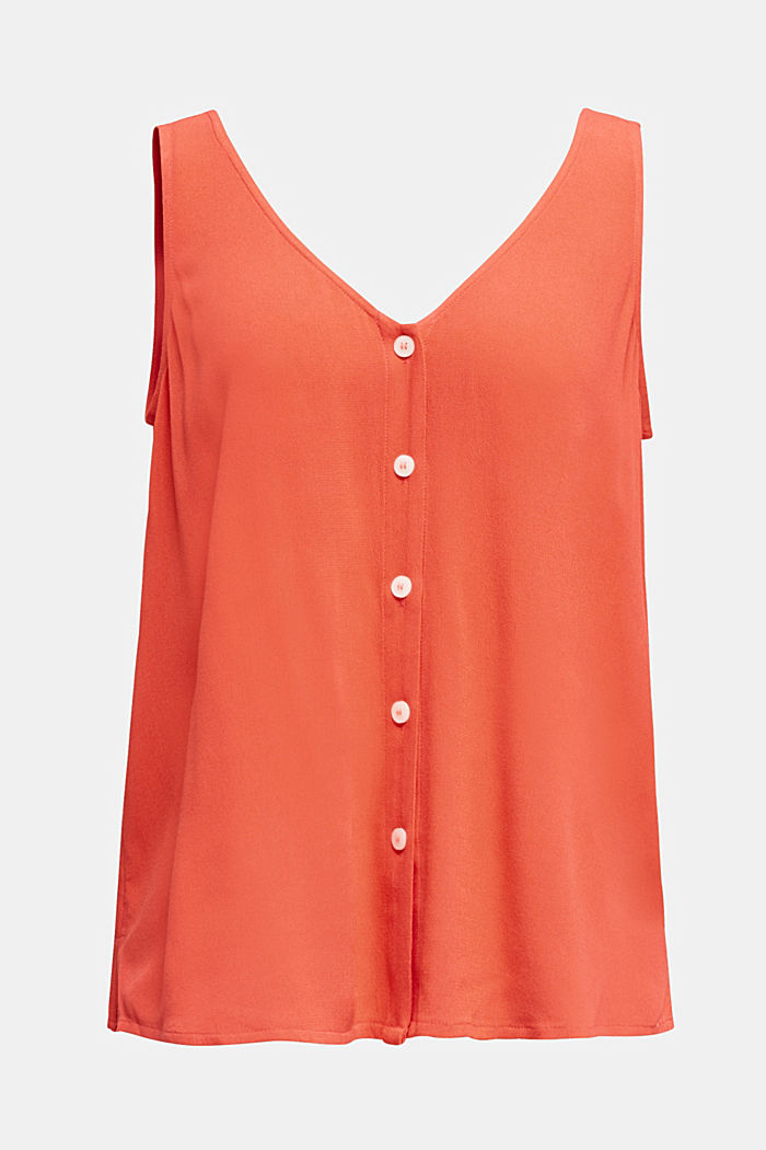Crêpe blouse top with a button placket, CORAL, detail image number 6